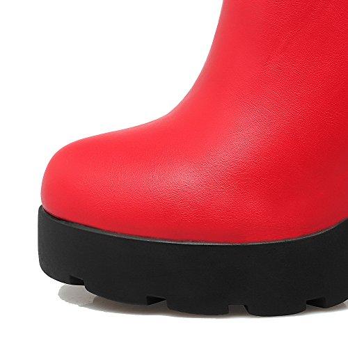 Odomolor Damen Niedrig-Spitze Reißverschluss Hoher Absatz Rund Zehe Stiefel Rot