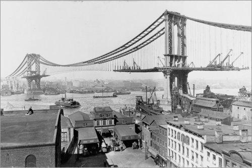 Posterlounge Leinwandbild 180 x 120 cm: New York, Manhattan Bridge im BAU, 1909 von Sascha Kilmer - fertiges Wandbild, Bild auf Keilrahmen, Fertigbild auf echter Leinwand, Leinwanddruck