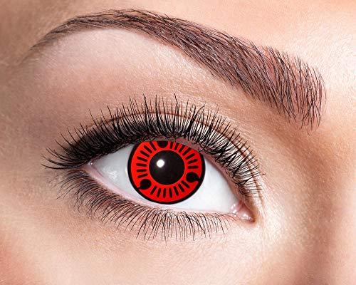Zoelibat Eyecatcher Motivlinsen - Red Itachi m60 - farbige 3-Monats-Kontaktlinsen - Zu Halloween Kostüm, für Fasching oder Karneval und Cosplay