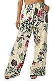 BaiShengGT Damen Blumenmuster Locker Weite Beine Lange Hose mit Seitentaschen Apricot-Blumen L