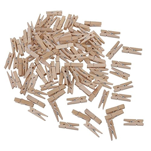 Mini Photo Pegs,Wooden Clips,100 PCS Natural Wooden Photo Clips,Mini Clothespins,Craft Pegs for Photos with 328 Feet Jute Twine for Arts & Crafts DIY Decorations