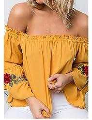 Europa Y Los Estados Unidos de Ventas de Alta Oto?o de Las Mujeres 'vestido de Vestir Bordado sin Tirantes de Manga Larga T-shirt,Amarillo brillante,XL