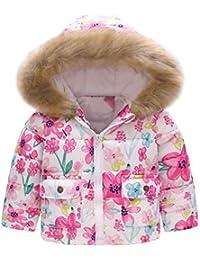 22e587ad91 XXYsm Kinder Baby Mantel Winter Mädchen Jungen Jacke mit Kapuze Blumendruck Outwear  Warme Winddichte Steppjacke Coat