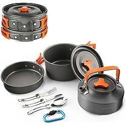 Aandyou camping Cocina Set Aluminio camping Acero Inoxidable Plegable camping ollas portátil Hervidor de agua para 2–5personas de viaje, picnic, senderismo