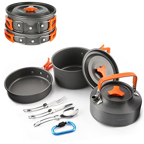 Camping Cookware Kit ,Outdoor Cooking Set Non Stick Camping Pans and Pots Lightweight Campfire Cooking Kettle for 1 to 5 People Backpacking,Hiking,Camping
