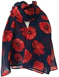 Navy Blue Poppy Scarf Ladies Red Floral Scarf Flower Wrap Poppies Shawl Flowers Sarong
