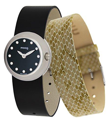 Moog Paris Zoom Women's Watch with Black Dial, Black Adjustable Nubuck lace Strap & Swarovski Elements - M45382-413