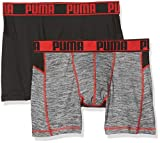 Puma Herren Unterwäsche Active Grizzly Melange Boxer 2P Packed, Black/Red, L, 671018001