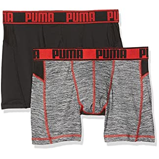 PUMA Active Grizzly Melange Boxer 2p Packed – Ropa Interior de Deporte Hombre