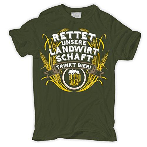 Männer und Herren T-Shirt Rettet die Landwirtschaft TRINKT Bier Größe S - 8XL - Bauer Kurzarm-shirt