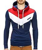 BetterStylz Kapuzenpullover Arturo Seitliche Schnürung Pullover Hoodie Sweatshirt viele Farben (S-XXL) (M, Dunkel Blau/Weiß/Rot)