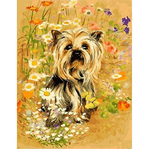 WACYDSD Puzzle Adulte 1000 Pièces Puzzle 3D Yorkshire Terrier Et Fleur Bricolage Animal Photos pour Salon Mur Art Déco