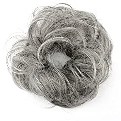 MERRYLIGHT Messy Hair Bun Chignon Hairpieces Synthetic Scrunchie Elastic Hairpiece (0819 Mixed Grey&White-M3/60)