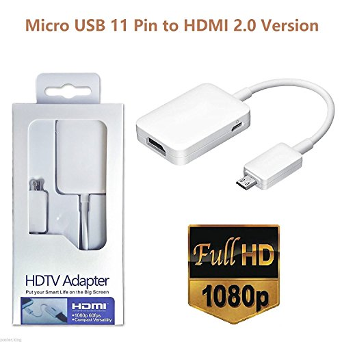 (White) MHL Micro USB to HDMI Cable Adapter for S3 S4 S5 Note 2 3 4 (Cricket Galaxy S4)