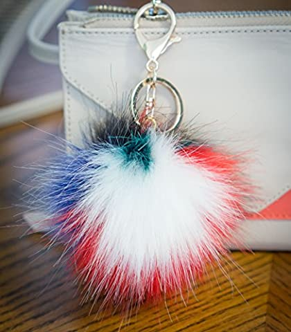 3 FOR 2! 10cm Large Fluffy FAUX / FAKE fur raccoon style pom pom big designer gold keyring clasp charm (10cm Multi White)
