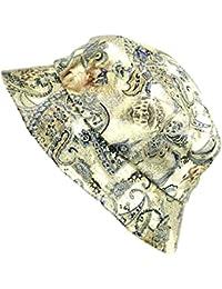 NYfashion101 Kunstleder knautschfähiger wasserfester Paisley Blumenmuster Fischerhut