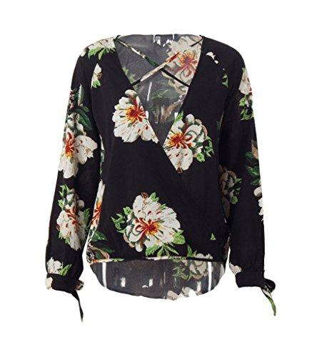 Smile YKK Chemise Femme Mousseline de Soie T-shirt Col V Manches Longues Blouse Imprimée Casual Noir