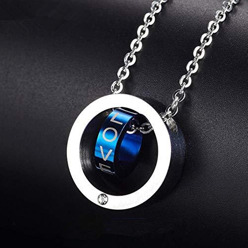 Halskette Flut Titan Stahl Doppelring Anhänger Persönlichkeit herrschsüchtig Mode Retro-Anhänger @ Doppelkreis Innenring blau,