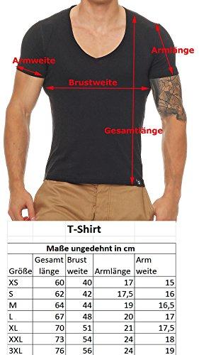 Gennadi Hoppe Herren T-Shirt V-Ausschnitt Slim Fit Freizeit V-Neck Kurzarm Schwarz