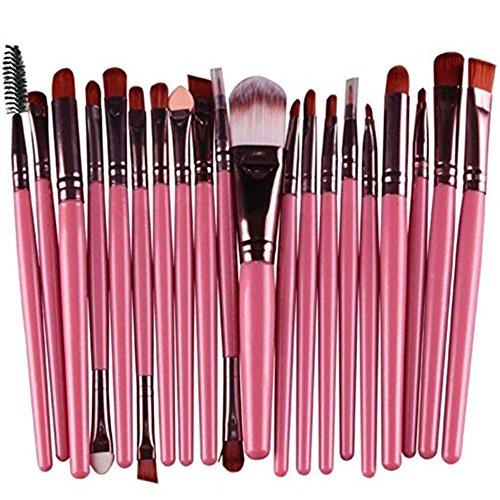 Vi.yo 20 Pcs Ensemble de Brosses Makeup Premium Cosmetics Foundation Blush Kit de Brosse à Poudre(Rose et café)
