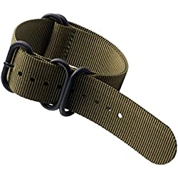 RSTORE NATO 22mm Green Watch Band Strap Fabric Nylon 5 Rings Stainless Buckle