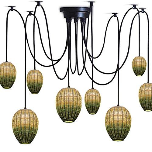 GRFH Natürlicher grüner Bambus und Rattan-hängendes Lampen-Land-handgemachter Webart-kreativer Entwerfer-Esszimmer 8 Kopf-Kombination Spinnen-Kronleuchter-Durchmesser 35Cm * 33Cm E27 110V-240V