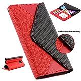 Handy Schutz Tasche im Portmonee Design für Samsung Galaxy S7 EDGE Croco Look Brieftasche Smartphone Cover Clutch Case ScorpioCover rot
