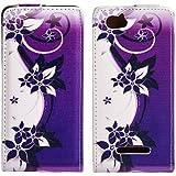 Butterfly Handy Tasche Flip Case Schutz Hülle für Sony Xperia M C1904/C1905 Flower Design Muster OJC-364 Cover Etui Bag Neu