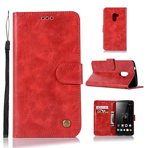 JARNING Lenovo K4 Note/A7010/Vibe X3 Lite Hülle SchutzHülle Prämie PU Leder Flip Case Tasche Stoßsichere LederHülle mit Magnetverschluss Kartenfach -rot