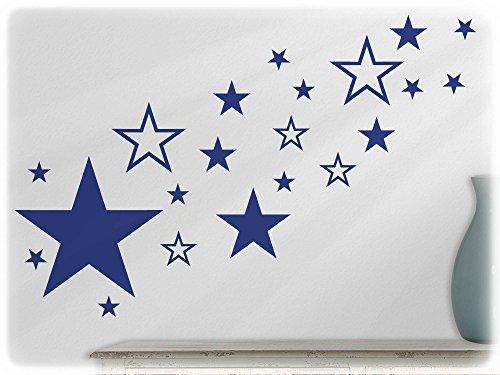 wandfabrik - Wandtattoo - 82 tolle Sterne in königsblau (70er Jahre Mode Australien)