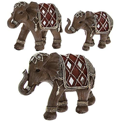 The Leonardo Collection - Juego de 3 Adornos de Elefante con Adornos de Estilo Indio