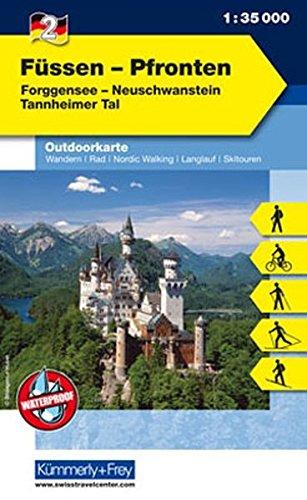 Preisvergleich Produktbild Outdoorkarte 02. Füssen - Pfronten 1 : 35.000: Neuschwanstein - Tannheimer Tal (Kümmerly+Frey Outdoorkarten Deutschland)