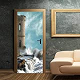LXHLXN Nouvel an Cadeau Amovible DIY 3D Porte Autocollant Sticker Mural Murale Tour Beacon Mer Spray Corridor Décor