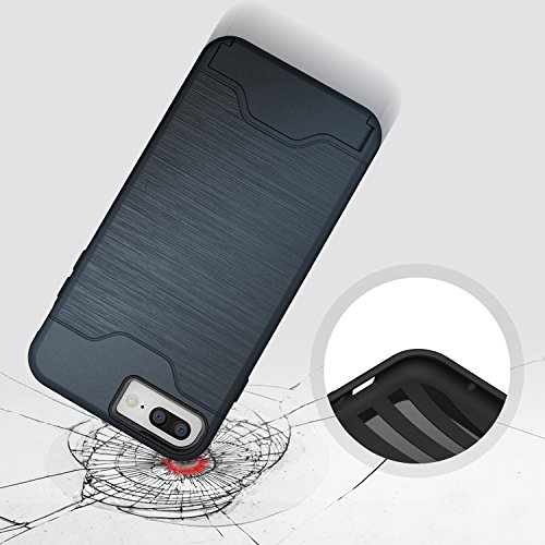 Cover iPhone 7 Plus, Riffue [VIVA] Flessibile TPU e Dura del PC Dual Layer Slot Card Protection Custodia Case per iPhone 7 Plus - Nero Blu