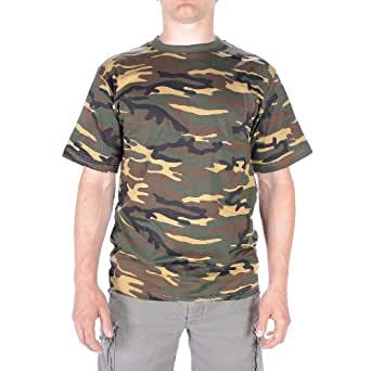 Woodland Army Camouflage Military T-Shirts Army Camo Tops (Small)