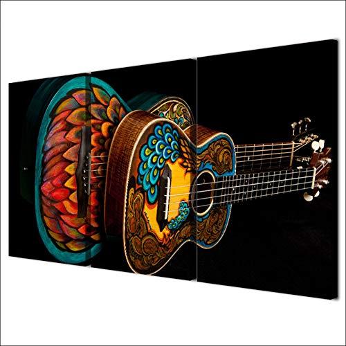 Frckotead Dekorative Gemälde Hd Gedruckt 3 Stück Leinwand Kunst Musikinstrument Vintage Gitarre Malerei Wandbilder Für Wohnzimmer