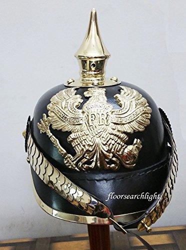 Pickelhaube Helm Kostüm - Preußische Leder Pickelhaube Deutsch Helm Erste Weltkrieg W/gewinnen Spike Kinn Maßstab Armor