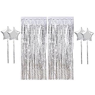 Aissy Lametta Vorhänge, 2er Pack Metallic-Folie Fransen Schimmer Vorhänge mit 4 Stück 45,7cm Folie Ballons für Geburtstag Hochzeit Party Hintergrunddekoration silber