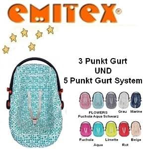 Emitex – Housse d'été 100% coton à motif moderne, housse universelle pour coques bébé, sièges auto, par ex. Maxi-Cosi, Römer; AQUA/BLANC
