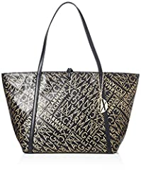 Idea Regalo - ARMANI EXCHANGE Gold Logo Shopping Bag - Borse Tote Donna, Oro (Black/Gold), 28x13x49 cm (B x H T)