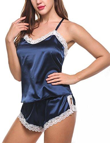Avidlove Nachtwäsche Damen Sexy Set Schlafanzüge Satin Kurz Träger Nachthemd Babydoll Pyjama Shorts Spitze Negligee Dessous (Nachtwäsche Damen)