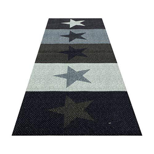 HOMEFACTO:RI Küchenläufer Küchenteppich Teppichläufer Brücke Sterne Stars   waschbar, Größe:ca. 60 x 180 cm, Designs:Sterne   bunt