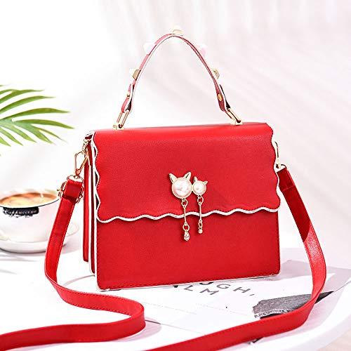 Qmm Wave Kurve Flip Lady kleine Geldbörsen, Mode Anhänger einzelne Umhängetasche, Volltonfarbe PU Leder Crossbody Geldbörse, Tote Geldbörse, Freizeit einfache Handtaschen (Color : Red) - Benutzerdefinierte Handtaschen Aus Leder