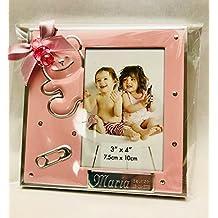 Marcos fotos para bautizo niña GRABADOS PERSONALIZADOS (pack 12 unidades) portafotos regalos invitados marco