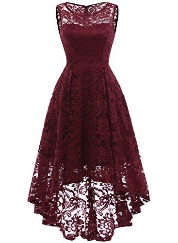 MuaDress MUA6006 Elegant Kleid aus Spitzen Damen Ärmellos Cocktailkleider Ballkleid Burgundy S