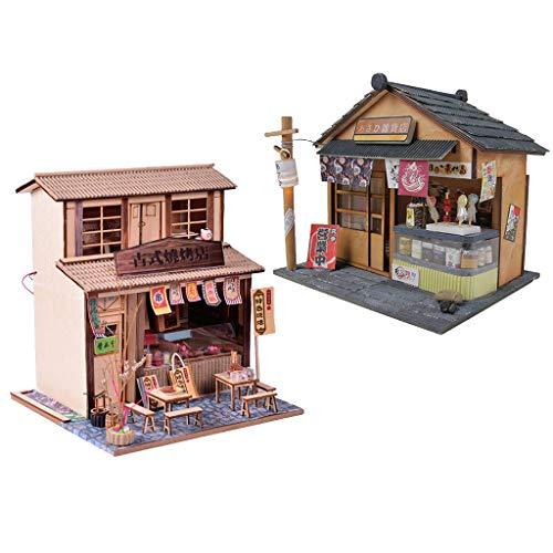 FLAMEER 2 Set 1:24 Puppenhaus Miniatur DIY Haus Projekt Kit Sammlung Geburtstag Hochzeitsgeschenk ( BBQ Restaurant & Lebensmittelgeschäft ) - Bbq-zubehör-kit