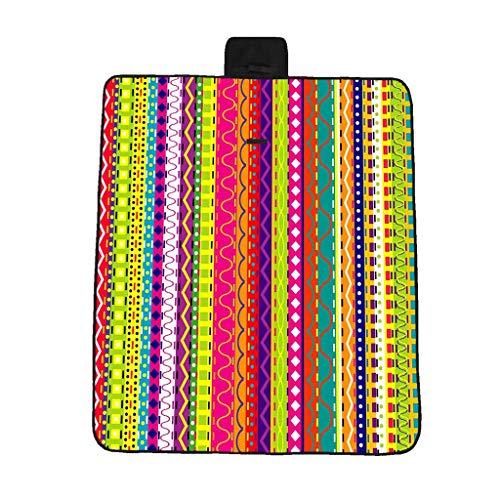 EUCoo 3D-Digitaldruck-Vollpolyester-Oxford-Tuchpicknickmatte/Strandmatte/Feuchtigkeitsmatte - Regenbogengeometrie(Mehrfarbig, 148x82cm)