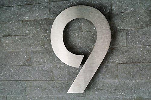 HAUSNUMMER EDELSTAHL Nr.9 / H20cm / ITC-Bauhaus in 2D-Design / V2A / NUR 1 x VERSANDKOSTEN FÜR ALLE...