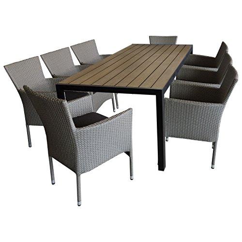 9tlg. Gartengarnitur Sitzgruppe Terrassenmöbel Gartenmöbel Set Sitzgarnitur - Gartentisch, 205x90cm, Polywood-Tischplatte + 8x Polyrattan Gartensessel, stapelbar, grau-meliert, inkl. Sitzkissen