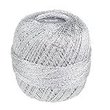 Grundl 872-8202 Glitter Pelote de fil à crocheter pailleté Argenté 25 g